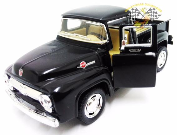 Miniatura Pickup Ford F-100 1956 Preta 1:38 Kinsmart