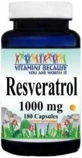 Resveratrol 1000 Mg 180 Cáp Vitamins Because Importado