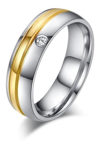 Aliança/anel Banhado A Ouro 18k Com Cristal