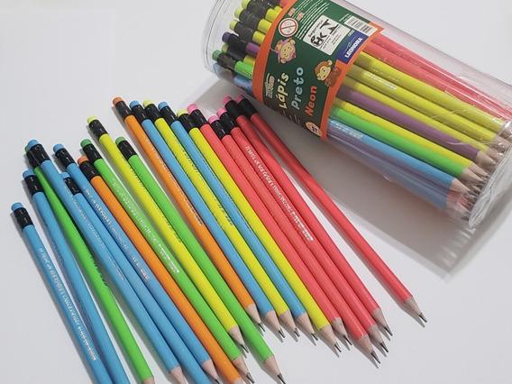 Lapis De Escrever Com Borracha Neon/kit Com 144 Unidades
