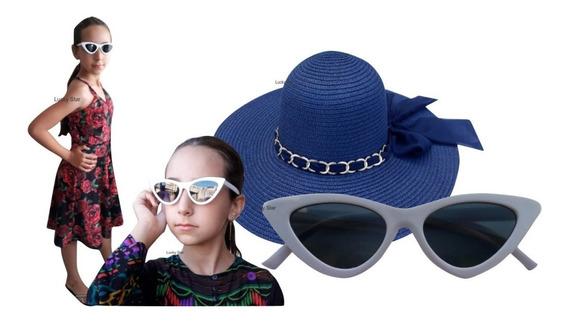 Chapéu Praia Infantil 4 Até 8 Anos + Óculos De Sol Menina Kit