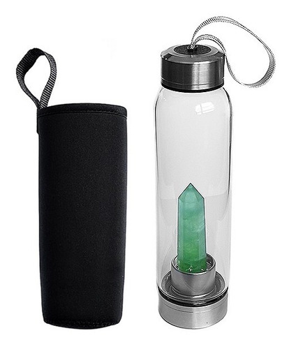 Botella Termo Vidrio Para Agua Con Cristal De Cuarzo