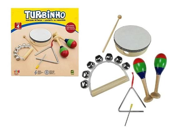 Instrumentos Infantil Banda Rítmica Turbinho C/ 4 Br-4a