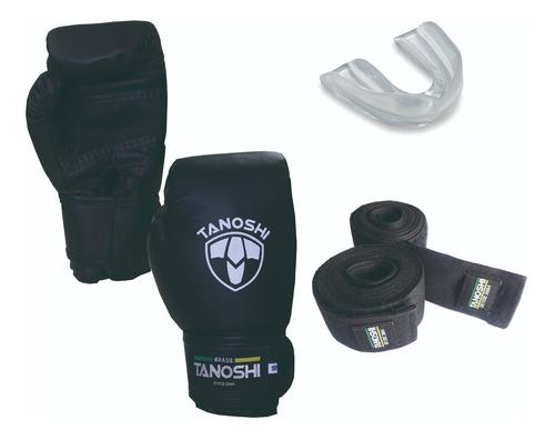 Kit Luva Boxe Tanoshi Cx Black + Bandagem + Bucal