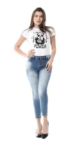 Calça Cropped  Jeans Feminina Com Bojo   Sawary