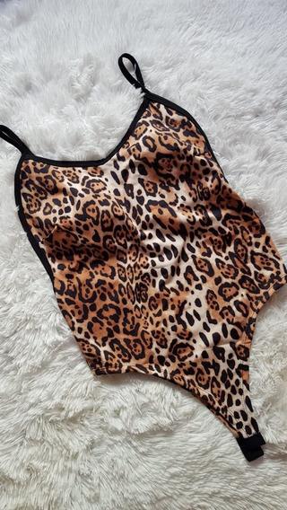Body Feminino Cavado Com Bojo Oncinha Animal Print Moda 2019