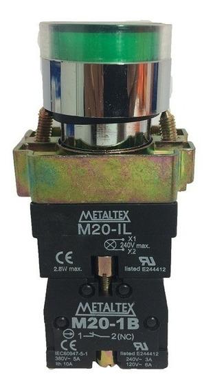 Botão Pulsador Ilum M20ifr-g7-1c 1na+1nf Verde 24v Metaltex