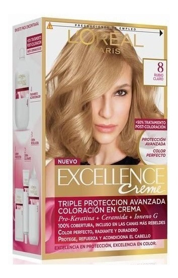 Kit Tintura Excellence Creme Loreal Color 8 Rubio Claro