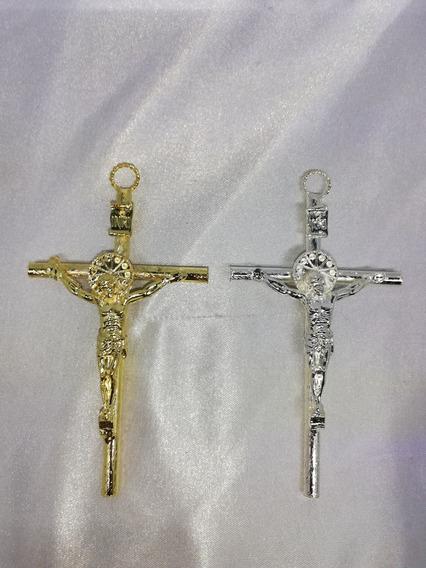 Cruz Con Cuerpo De Metal Chapa En Oro O Plata, 50 Piezas