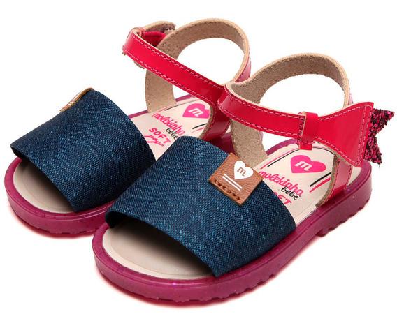 Sandália Molekinha Verniz E Tecido Jeans Rosa - 2700.201