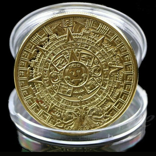Moneda Colección Calendarios Azteca Y Maya En Chapa De Oro