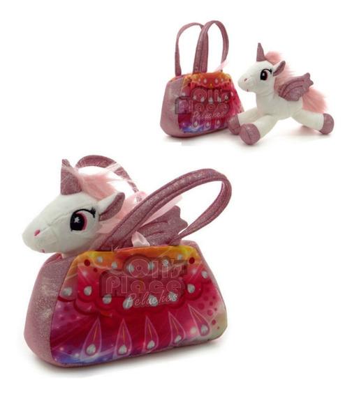 Cartera Con Unicornio De Peluche Carterita De Mano Importado