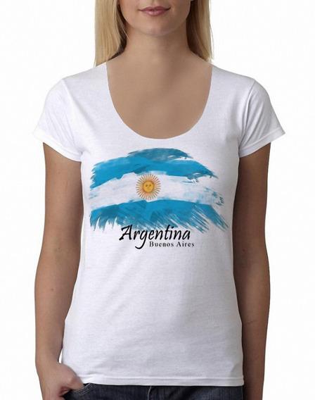 Remera Bandera Argentina Turística Mujer Purple Chick