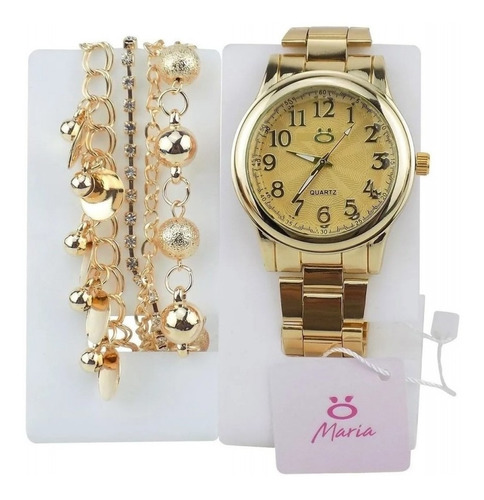 Relógio Feminino Analógico Dourado + Pulseira 100%original
