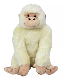 Gorila Branco De Pelúcia 22 Cm Antialérgico Lavável Unissex