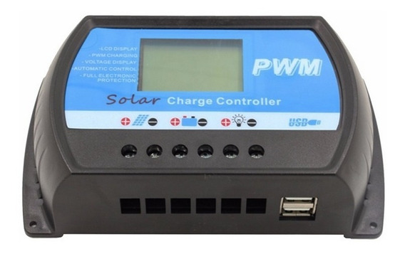 Controlador De Carga Solar Pwm 10a 12v 24v Com Usb Sem Mppt