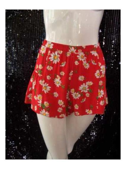 Short Forever 21 Color Rojo Estampado Floral