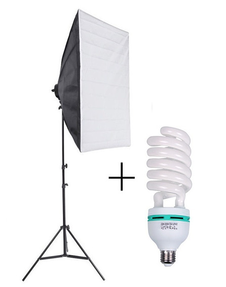 Kit Softbox 50x70 + Tripé + Lâmpada E27 135w 110v 220v 5500k