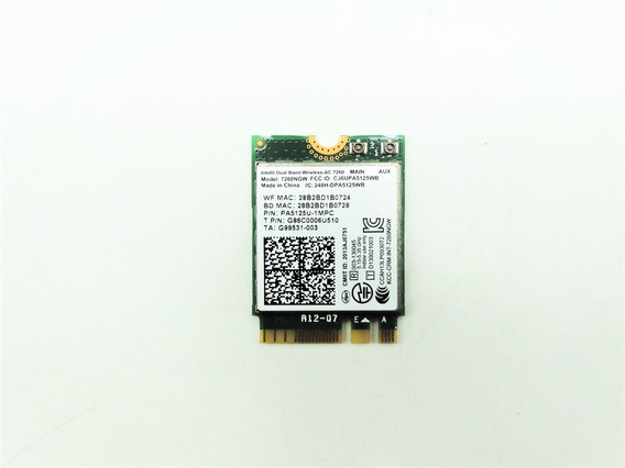 Intel Dual Band Wireless-ac 7260 7260ngw Bt 4.0 Pa5125u-1mpc