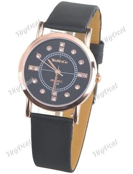 Relógio Quartzo Pulseira Imita Couro Preto