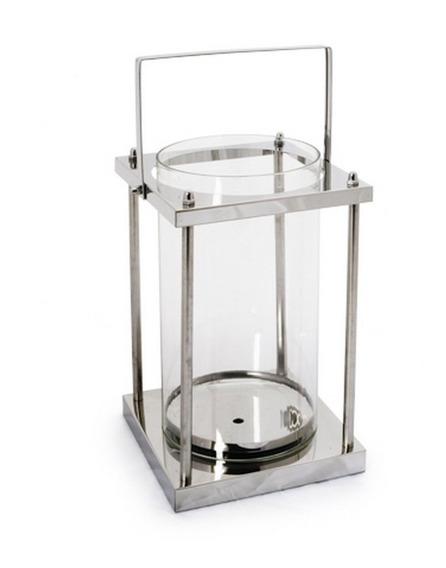 Lanternas Suporte Metal E Vidro Prata 40 X 14 Cm Prata