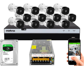Kit Cftv 12 Cameras 1220b G5 1080 Intelbras Dvr 3116 S/ Cabo