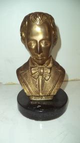Antigo Busto Em Bronze Chopin/escultura/decoração Em Metal