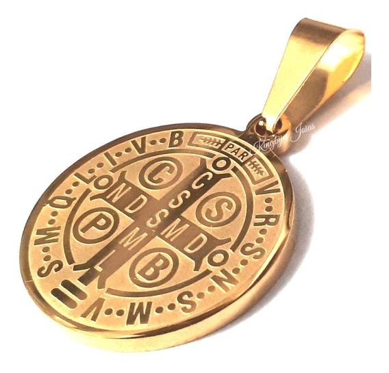 Pingente Medalha Milagrosa São Bento Dupla Face Folheado
