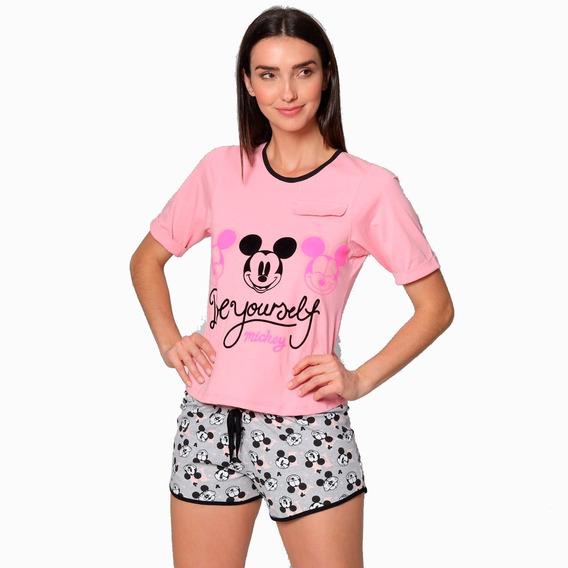 Pijama Mujer Disney Mickey Mouse Blusa Y Short Rosa 8089