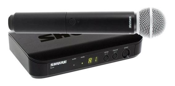 Microfone com acessórios Shure BLX24/SM58 dinâmico cardióide preto