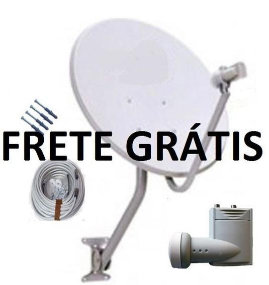 Antena Ku 60 + Lnb Duplo + Cabo 20 Mts + 4 Conectores Kit 02
