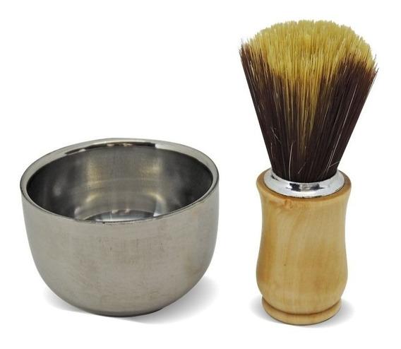Saboeira Barba Térmica Inox Porta Espuma + Pincel De Barbear