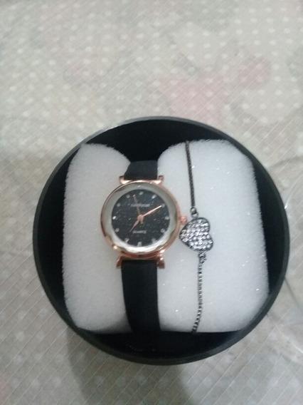 Kit Relógio Feminino Quartzo Céu Estrelado +pulseira +caixa