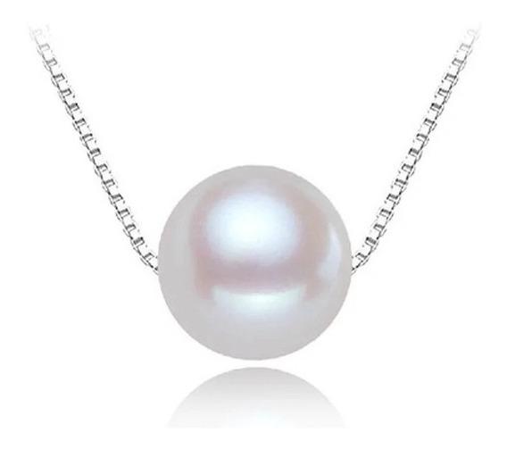 Collar Perla Redonda Auténtica, Plata 925 Y Envío