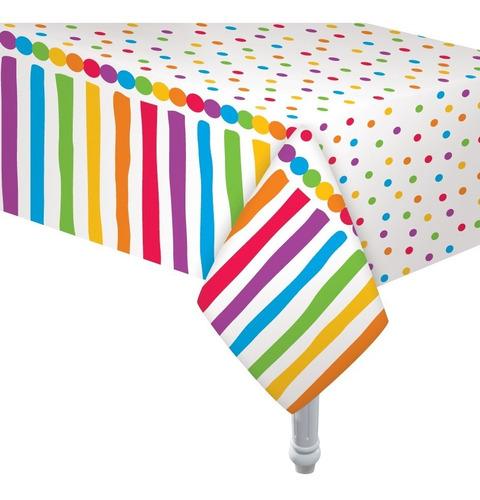 Imagen 1 de 2 de Mantel Plastico Multicolor 180 X 130cm Cotillon Cumpleaños