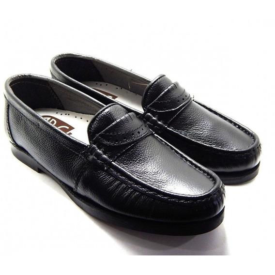 Sapato Masculino Social Abc 102 Mocassim Couro - Preto