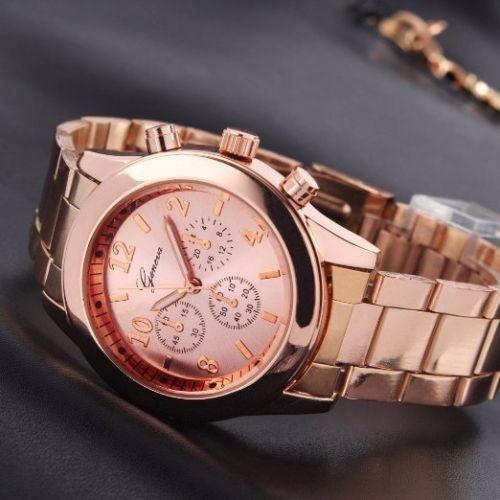 Relógio Feminino Quartz Geneva De Aço Inox