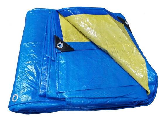 Lona Top Multiuso 5x6 Azul E Amarela Com 150 Micras + Ilhos