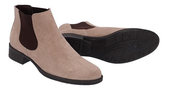 Botina Feminina Chelsea Boots Couro Legitimo + Brinde 2467