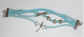 Bracelete - Love Azul - Couro Ecológico