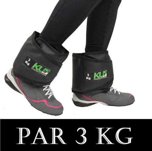 Imagem 1 de 3 de Par Caneleira Tornozeleira Kl Master Fitness Peso 3 Kg