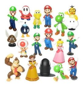 Coleção 18 Bonecos Miniatura Super Mario Bros Games Nintendo
