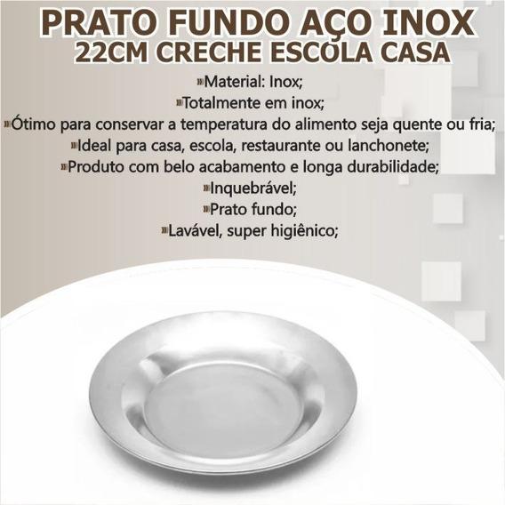 Kit C/12 Prato Fundo Inox 22cm Creche Cozinha Inquebrável