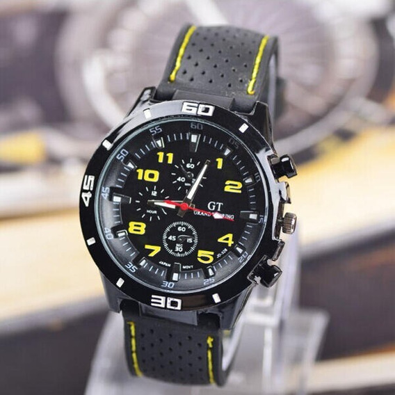 Relógio Esportivo Masculino Gt 54 Grand Touring Cor Amarela.