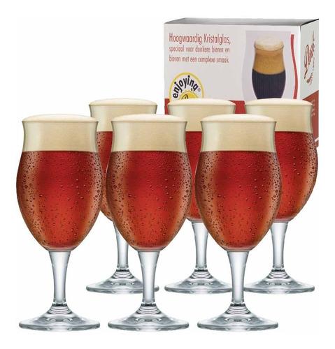 Imagem 1 de 4 de Jogo De Taças De Cerveja Cristal Dark M 435ml Conjunto 6 Pcs