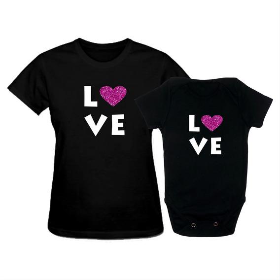 Kit Camiseta Tal Mãe Tal Filha Love Dia Das Mães