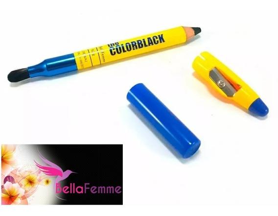 12 Lápis De Olho Jumbo Preto Com Pincel Apontador Atacado
