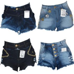 Kit Shorts Jeans Feminino Cintura Alta Atacado 10 Peças