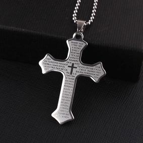 Colar Crucifixo De Aço Inoxidável Prata