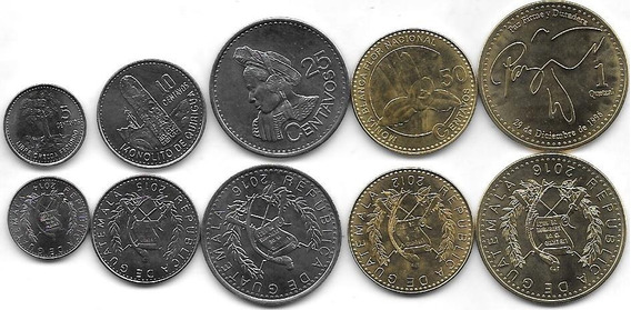 5 Monedas Guatemala Año 2012/6 Sin Circular